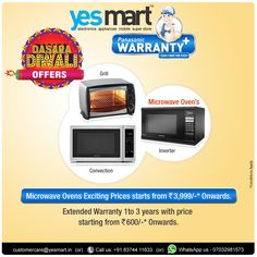 ‪#‎YesMart‬ Navratri Festive Offers!! Make your cooking ‪#‎Delicious‬ & ‪#‎Delightful‬ with #YesMart's Top Brand ‪#‎MicroOvens‬. Latest Range of Top Brand MicroOvens with Price Range starting from Rs.3,999/- onwards @YesMart in Amazing Festive Offers with Assured Gifts also. Reach the Nearest #YesMart Store and Grab all the Festive Offers Today. For more info Visit - www.yesmart.in