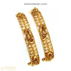 22K Gold 'Peacock' Kada with Cz & Color Stones (Temple Jewellery) - Set of 2 (1 Pair)  - 235-GK600 - Buy this Latest Indian Gold Jewelry Design in 52.900 Grams for a low price of  $3,176.31 Indian Gold Jewellery Design, Gold Bangles Design, Jewelry Design, Jewelry Sets, Gold Jewelry, Women Jewelry, Gold Bangles For Women, Uncut Diamond, Diamond Bangle