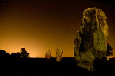 Avebury, Southern Inner Circle  Standing stones in the Southern Inner Circle at Avebury at night, lit by stars and the distant glow of Swindon.