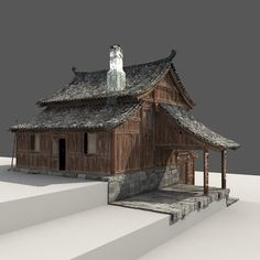 Chinese Old Wooden House - 3d model - CGStudio