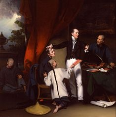 "Dr. Thomas Colledge with Patients by Chinnery.  Chinnery's painting of a ""heroic"" Dr. Colledge (right) bears interesting comparison with a painting of the other medical missionary, Dr. Peter Parker, by Lam Qua (far right)."