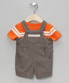 Take a look at this Orange Tee & Gray Jared Overalls - Infant by Periwinkle on #zulily today!