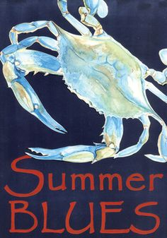 Summer Blues Crab Decorative Nautical House Flag by Toland