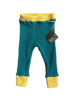 Organic Cotton Thermals with Cuff - Blue and Yellow - Baby Boy