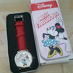 NEW Disney Minnie Mouse Miss Fabulous Watch New condition, never used. Great collectible piece. Tin box has some damage (see last pic). Disney Accessories Watches