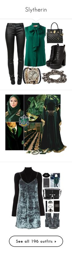 """""""Slytherin"""" by brassbracelets ❤ liked on Polyvore featuring Sara Designs, T By Alexander Wang, MSGM, Michael Kors, Religion Clothing, River Island, 1928, Nine West, L'Agence and Topshop"""