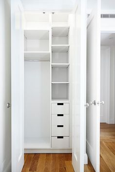 small and narrow closet organizer idea in white of Small Closet Organizers: Small Storage Solution for Apartment-Sized Houses
