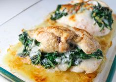 These Baked Spinach Provolone Chicken Breasts are Low Carb and so delicious. So simple to make, just butterfly the chicken breasts, add spinach, and provolone cheese. Then just wrap it and bake it! | Tastefulventure.com