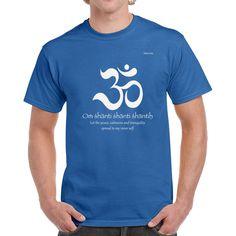 Om Shanti Yoga Mens Royal Blue T-shirt