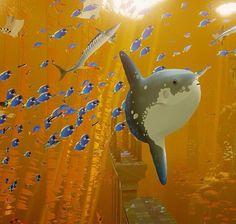 Abzu game<---The beautiful golden sea~ And a close up sunfish~
