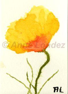 ACEO Original Watercolor Watercolour Yellow Poppy