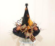 Orange and Black Witch Hat * Halloween Hat * Halloween Decor * Witch Costume…