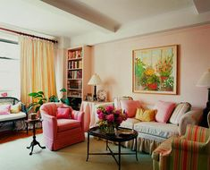 Fascinating Living Room Designs In Vintage Style : Astonishing Vintage Apartment Living Room Decoration with Colorful Comfy Sofa and Small Black Coffee Table also White High Bookcase