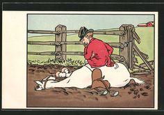 Künstler-AK M.Munk Nr.204: Pferd eines Reiters liegt im Matsch nach dem es durch…