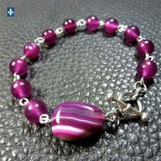 ✨ GROUPED SHIPPING DISCOUNTS Purple Fuchsia Tones Agate & Plated Silver Bracelet