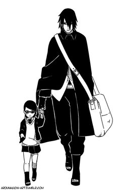 うちはサスケサラダ - With Papa… [Acting confident and cool like her papa ( ̄ー ̄)…] Characters belong to Masashi Kishimoto ©