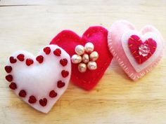 DIY: Handmade heart pins craft. http://bit.ly/wYfjYc