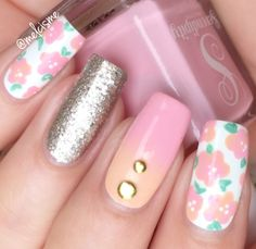 Freehand Floral Design using polishes from Serendipity Polish
