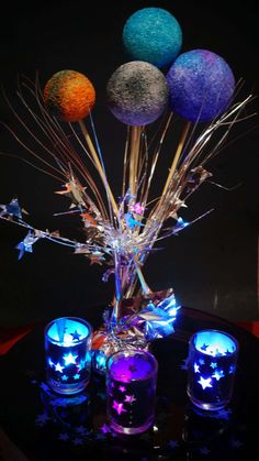 Ideas for party lights graduation Pinterest Design, Star Centerpieces, Space Baby Shower, You Are My Moon, Galaxy Wedding, Outer Space Party, Galaxy Theme, Blacklight Party, Prom Themes