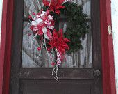 Red and White Christmas Wreath, Poinsettias and Fun Accents, Whimsical