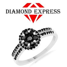 """7/10 Ct Round Cut Blue Sapphire & Black Spinel Cluster Band Ring 14K Gold """"Mother\'s Day Gift"""". Starting at $89"""