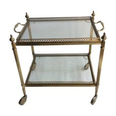 French Vintage Brass Drinks Trolley