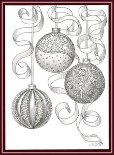 Christmas ball ornaments drawing ©Simone Bischoff_Weihnachten07_13122012