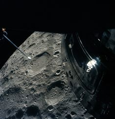 """space-pics: """"The crew of Apollo 13 photographed the Moon from their Lunar Module """"life boat"""" as they passed by it. The shut-down Command Module is visible out the overhead rendezvous window. Crater Chaplygin is the major feature shown on the lunar..."""