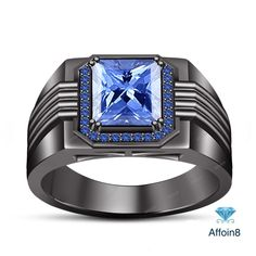 2.40 CT Princess Cut Blue Sapphire With Side Accents 925 Silver Men's Band Ring…
