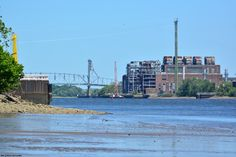 The old power plant and Burlington-Bristol Bridge from downstream; shot taken from Neshaminy State Park marina on the PA side of the Delaware River.