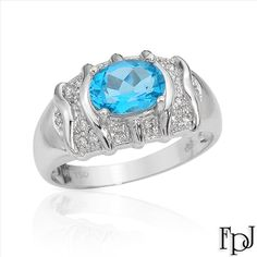 $359.00  FPJ Vibrant Brand New Ring With 1.30ctw Precious Stones - Genuine  Clean Diamonds and Topaz  18K White Gold- Size 7 - Certificate Available.