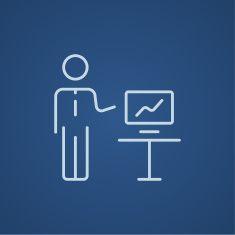 Business presentation line icon vector art illustration