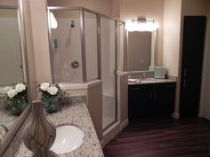 #Cielo luxury #apartment #homes offers stand up showers in select #apartments. Check out the master bathroom in our B3 floor plan 2x2- 1154 S.Q.  F.T.  www.livecielo.com