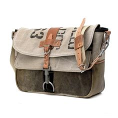 Handmade Messenger Recycled Leatherjacket,Belgian Military Post Bag // Upcycled…
