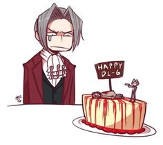 """professormorriarty: """" Happy Anniversary, Mr. Edgeworth, sir! It's lemon! And the sauce is made from real raspberries! … M-Mr. Edgeworth…? """""""