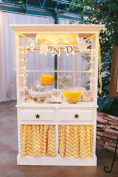 Yellow Chevron Candy Buffet