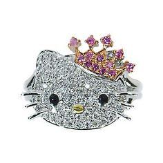 c68be8740 hello kitty diamond jewelry - Google Search Princess Kitty, Cat Ring,  Pretty Cats,