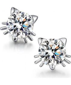 Worry-Free White Gold Plated Cute Small Cat with Ears CZ Stud Earrings