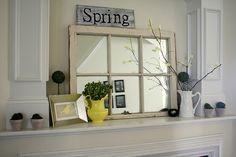 Old window frame mirror