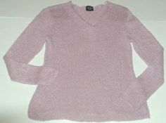 Eileen Fisher V Neck Sweater Viscose Linen Knit Pink Petite Sz S Ladies Womens