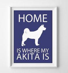 8x10 Akita Wall Art Illustrated Dog Art Akita Decor Dog by pigknit