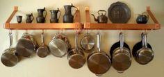 . Small Apartment Storage, Small Apartments, Pot Rack Hanging, Hanging Pots, Kitchen Pans, Kitchen Storage, Kitchen Organization, Kitchen Shelves, Closet Organization
