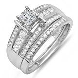 #1: 0.75 Carat (ctw) 10K White Gold Princess & Round Diamond Ladies Bridal Ring Set 3/4 CT (Size 8)