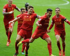 Coutinho celebrating winning goal of today's match against Man City. 4-13-14
