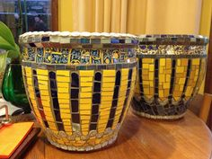 Blue and Yellow Mosaic Pot Pair