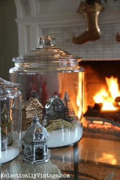 Winter snow village in a jar….Yes, Yes, Yes!  Love this idea!