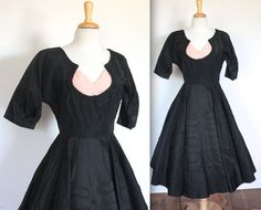 Vintage 1950's Dress // 50s Black Taffeta by TrueValueVintage, $250.00