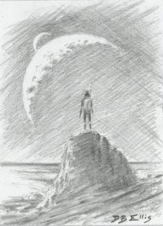 Contemplating The Infinite No. 20     original sci fi by dbellis, $5.15