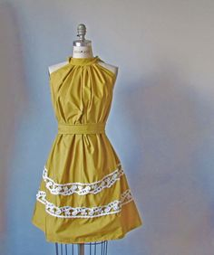 Dress /  mustard  yellow   / Vintage lace / by AtelierSignature, $69.99