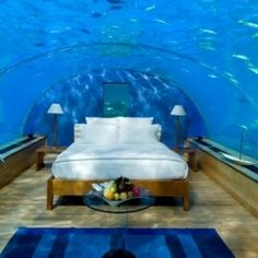 "Maybe the ultimate ""room with a view""--underwater suite in the Maldives"